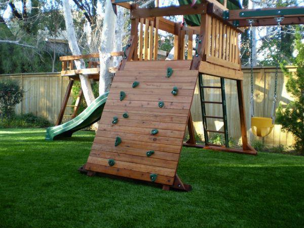 backyard play area with artificial grass